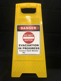 Evacuation In Progress Sign