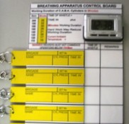 Breathing Apparatus Staging Tally Board - Stage 1 4 User with S-Biner clips